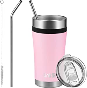 Linkit 20oz Tumbler Travel Mug with Lid & Straws - Coffee Stainless Steel Vacuum Insulated Cup for Ice Drink and Hot Beverage - Pink