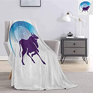 jecycleus Zodiac Taurus Luxury Special Grade Blanket Earth Globe with Stars and Dark Bull Animal Universe Future Multi-Purpose use for Sofas etc. W60 by L70 Inch Dark Purple Blue and White
