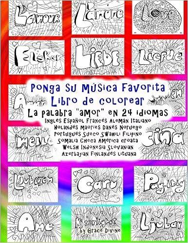 Ponga su música favorita Libro de colorear La palabra amor en 24 ...