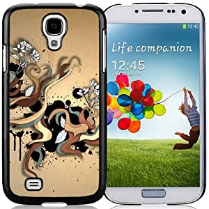 Hot Sale Samsung Galaxy S4 i9500 Cover Case ,Abstract Color Twirls Black Samsung Galaxy S4 i9500 Phone Case Unique And Fashion Design