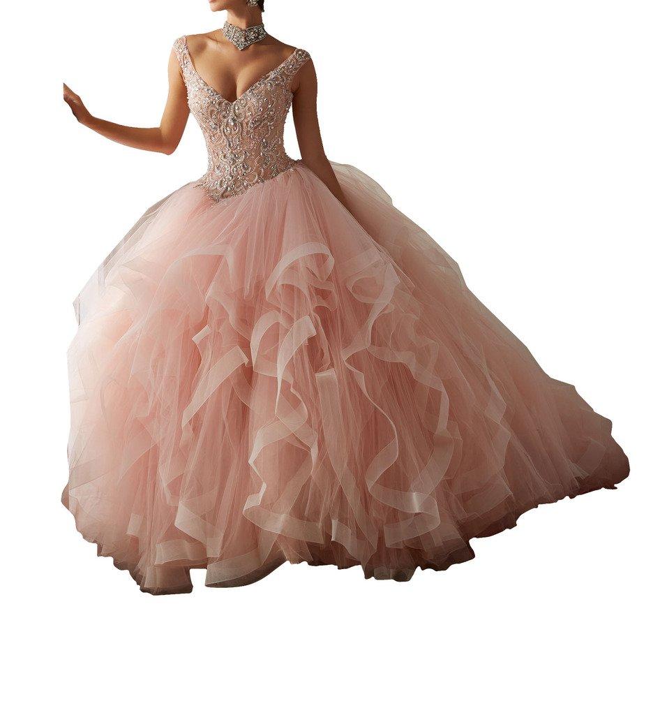 BoShi Women's Rhinestones V neck Beads Tiers Wedding Gowns Quinceanera Dresses 2 US Pink