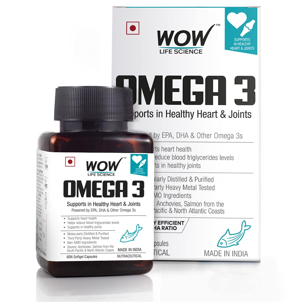 WOW Omega-3 Fish Oil Triple Strength 1000mg (550mg EPA; 350mg DHA; 100mg Other Omega 3 Fatty Acids) - 60 Capsules