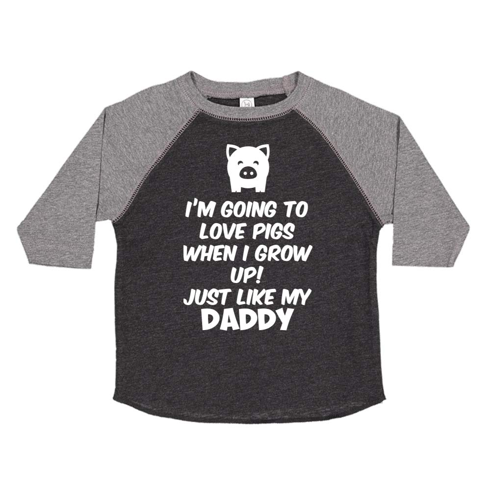 Toddler//Kids Raglan T-Shirt Im Going to Love Pigs When I Grow Up Just Like My Daddy