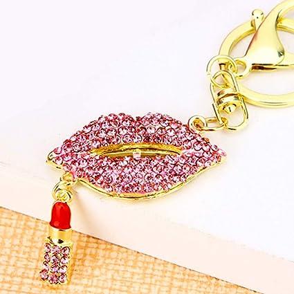 Caliente Labios con labios brillantes de cristal llavero ...