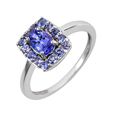 Ivy Gems Sterling Silver Tanzanite and White Cubic Zirconia Dress Ring 4viigv
