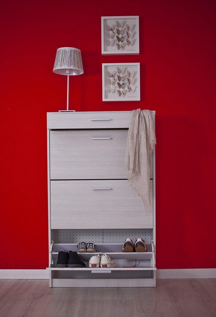 28 x 80 x 130 cm 3 puertas abatibles y un caj/ón patr/ón de madera color blanco Intradisa 3AB Zapatero