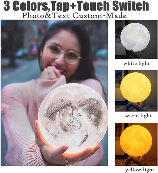 Customized Photo Text 3D Printing Moon Light USB Charging Custom Moon Night Lamp