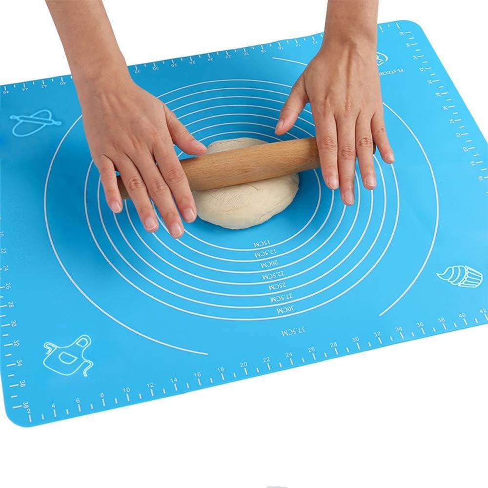 50x40cm Antiadherente Estera de Silicona para Hornear,Tapete de silicona para amasar y hornear ,Almohadilla de Mesa para Pasta Reutilizable(Azul)
