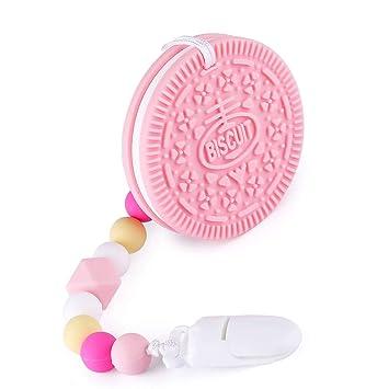 Mordedor Bebes, YISSCEN BPA libera galletas de silicona con soporte para clip de chupete moldeado para niños pequeños y bebés, Juguetes de dentición ...