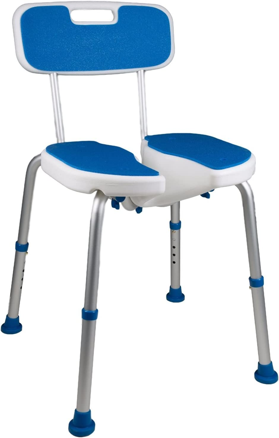 PCP Shower Safety Seat, Cutout for Easy Cleaning, Non-Slip Bath Support Recovery Chair with Backrest, White/Blue: Health & Personal Care