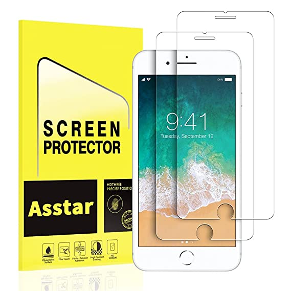 16a99ccd555 iPhone 7 Plus Screen Protector, [2 Pack] Asstar Tempered Glass  Scratch-Resistant