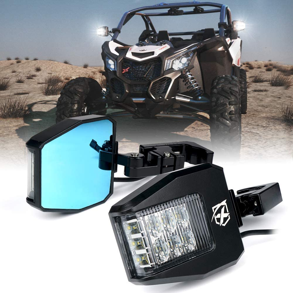 Side by Side ATV Teryx Xprite UTV Rear Side Mirrors with LED Spot Lights and Smoke Lens fit 1.5-2.5 Inch Roll Bar Cage for Polaris RZR XP 1000 UTV CAN-AM Maverick X3 Yamaha