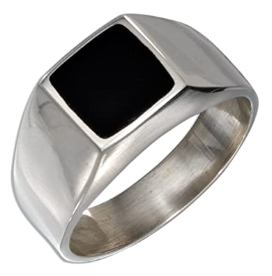 Sterling Silver Mens Square Obsidian RingAmazoncom