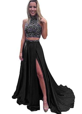 Amazon.com: HONGFUYU Gorgeous A-Line High Neck Lace Prom Dress ...