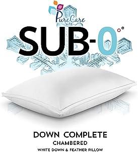 PureCare SUB-0 Degree Down Down Complete Pillow, Technical Textile, King, White