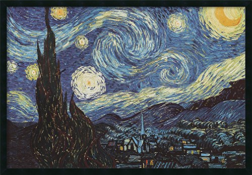 Framed Art Print, 'The Starry Night, June 1889' by Vincent van Gogh: Outer Size 37 x 25
