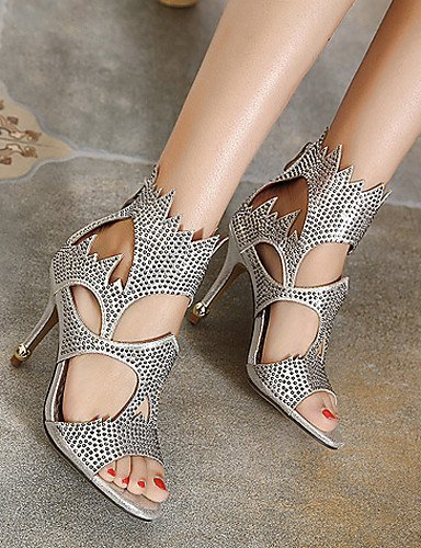 ShangYi Women's Shoes Synthetic Stiletto Heel Open Toe Sandals Party & Evening / Dress Black / White Black Y1osK
