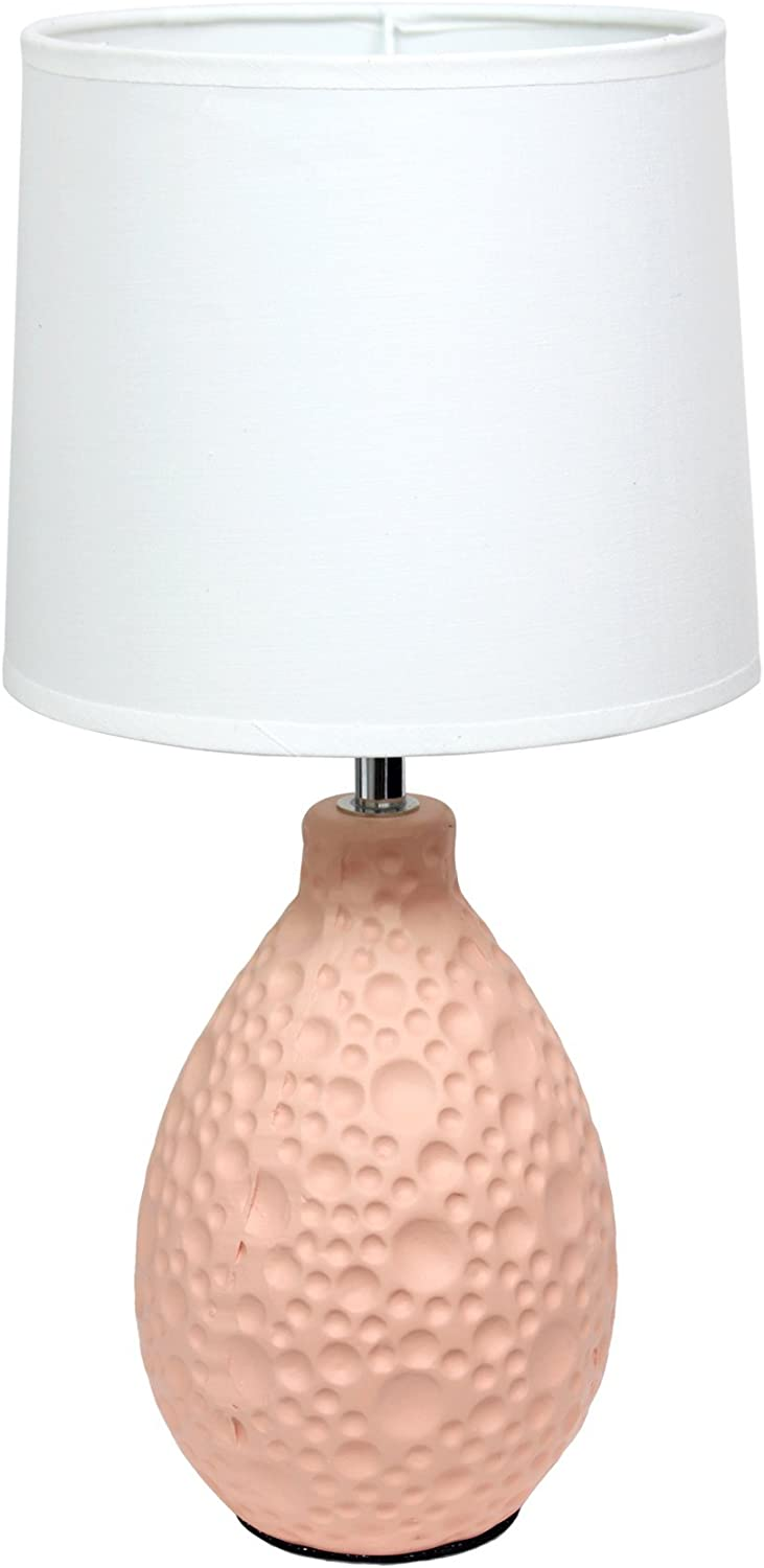 Simple Designs Home LT2003-PNK Textured Stucco Ceramic Oval Table Lamp, Pink