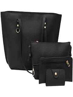 FDelinK Womens Litchi Pattern Leather Large Shoulder Bag Wallets Satchel Purses and Handbags 4 Pcs Set
