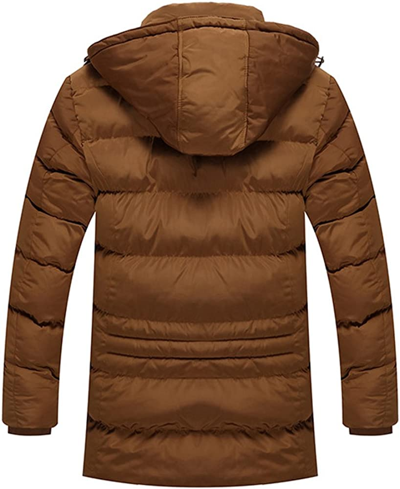 Chickle Mens Hoodie Lapel Collar Front Zip Thick Down Coat