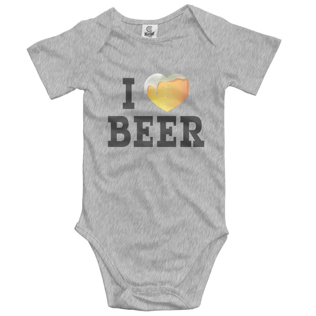 Klotr Unisexe Body B/éb/é Gar/çon Fille I Love Beer Newborn Bodysuits Manche Courte Combinaisons et Barboteuses Set
