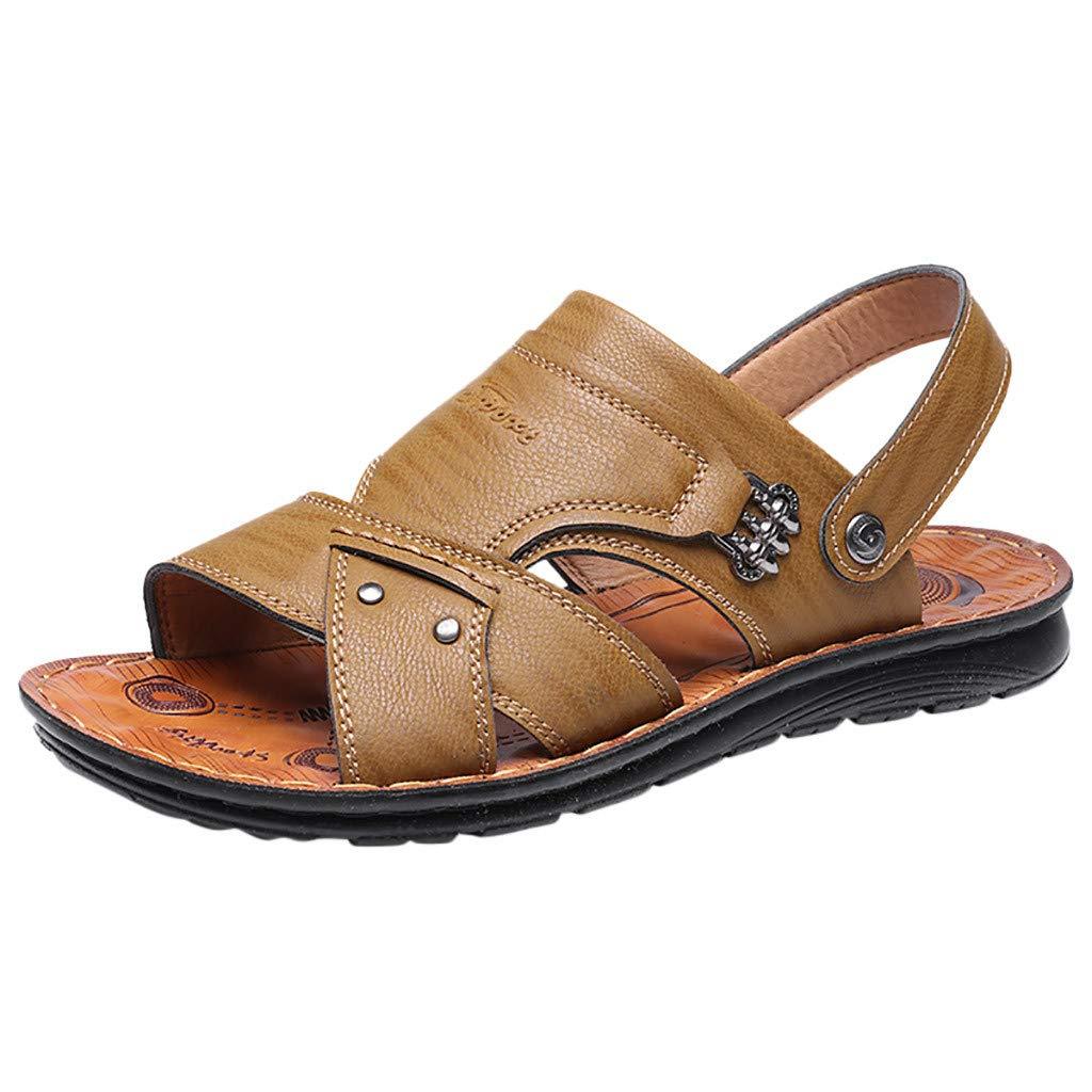SSYongxia❤ Men's Leather Classic Sandals Comfort Flip Flops Indoor Outdoor Walking Shoes for Summer Khaki