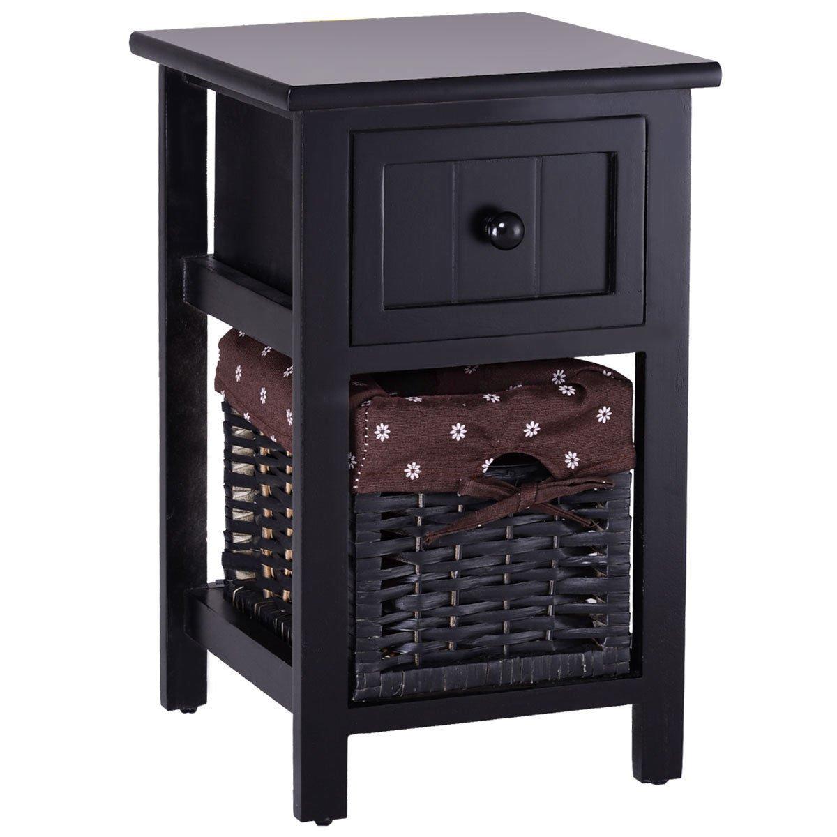 Black 18'' Wooden Nightstand Bedside Storage End Table Organizer w/Basket & Drawer