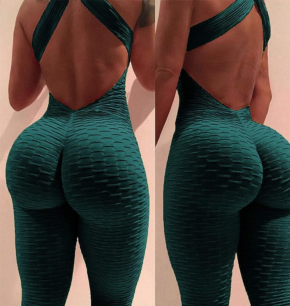 YOFIT Womens Butt Lift Yoga Jumpsuit One Piece Sleeveless Backless Sport Anti Cellulite Bodysuit Bandage Romper Playsuit