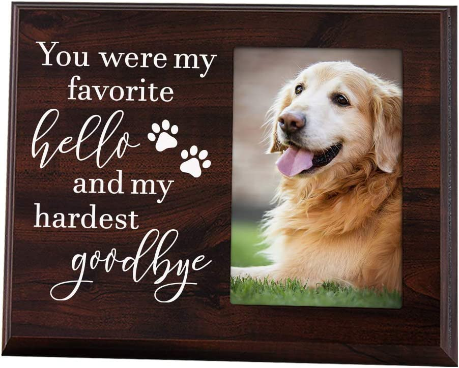 Elegant Signs Dog Memorial Gifts - Remembrance Picture Frame You were My Favorite Hello and My Hardest Goodbye - Sympathy for Loss of Dog