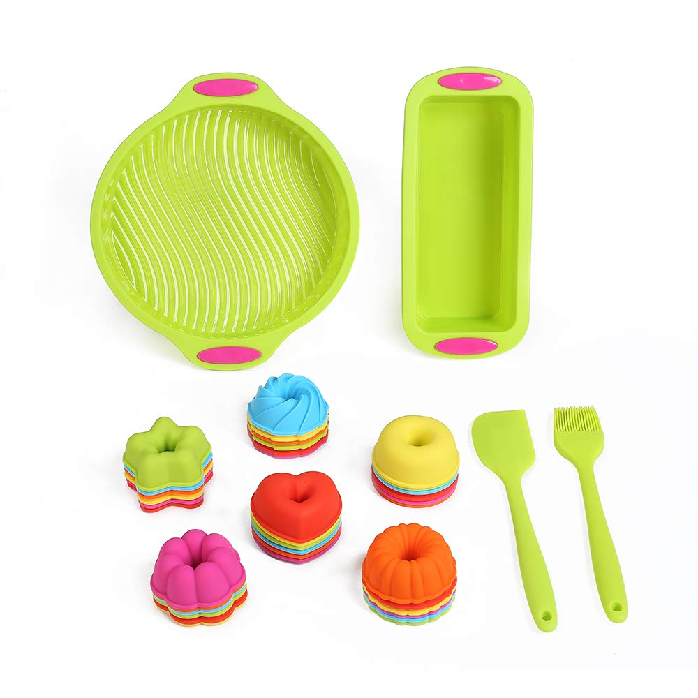 40 Pieces Silicone Bakeware Set Kitchen Toast Bread Cake Molds Silicone Cupcake Liners Egg Muffin Cups Non Stick Donut Baking Pans with Silicone Basting Pastry Brush Heat Resistant Rubber Spatula