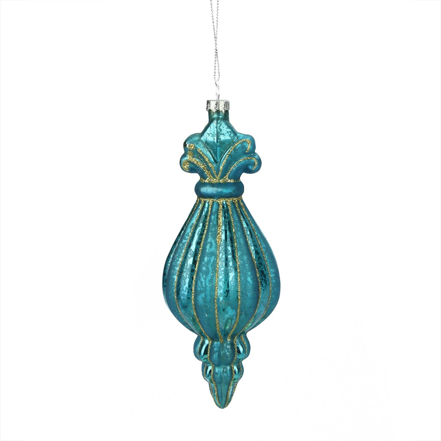 7 7″ Turquoise Ribbed Mercury Glass Christmas Finial Ornament
