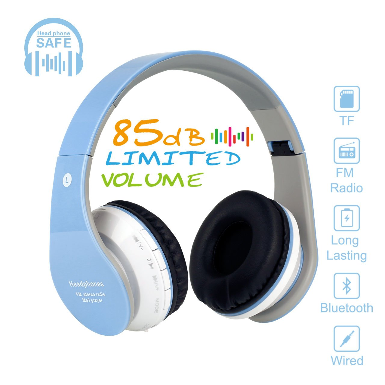 Kids Bluetooth On-Ear Headphones 85dB Volume Limiting Wireless/Wired Foldable Headset Earphones with AUX 3.5mm Jack,Mirco SD Card Slot,FM Radio for Students Children for PC Tablets Cellphone(Blue)