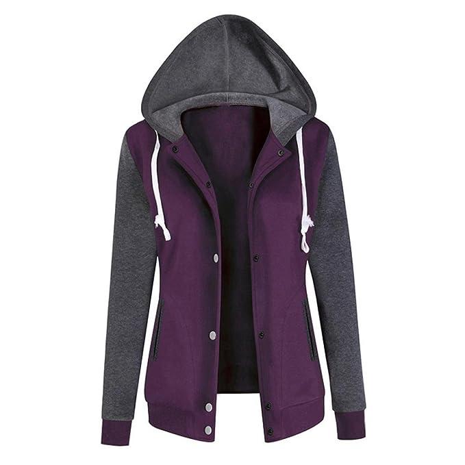 AutumnFall Women Blouse,Fashion Baseball Clothes Women Long Sleeve Hoodie Sweatshirt Coat Patchwork Print Causal Tops (L, purple)