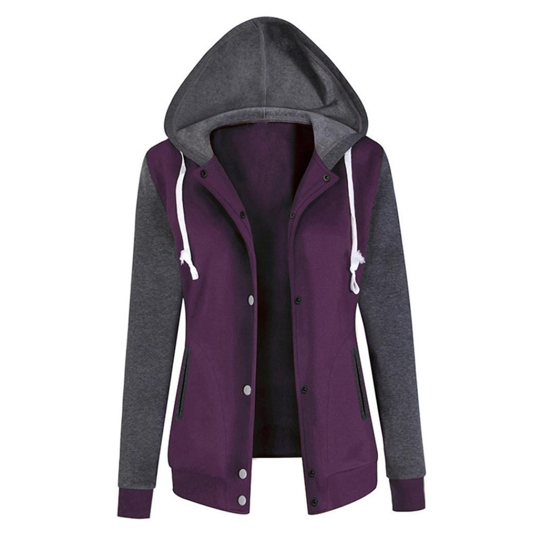 AutumnFall Women Blouse,Fashion Baseball Clothes Women Long Sleeve Hoodie Sweatshirt Coat Patchwork Print Causal Tops (L, purple)