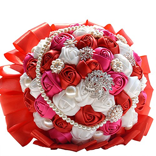 MerryJuly Wedding Bridal Bouquets for Bride Bridesmaid Bride Holding Bouquet Roses (Red)