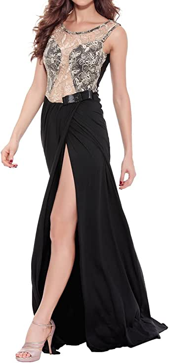Amazon.com: Quesera Women's Evening Gowns Sheer Bodice