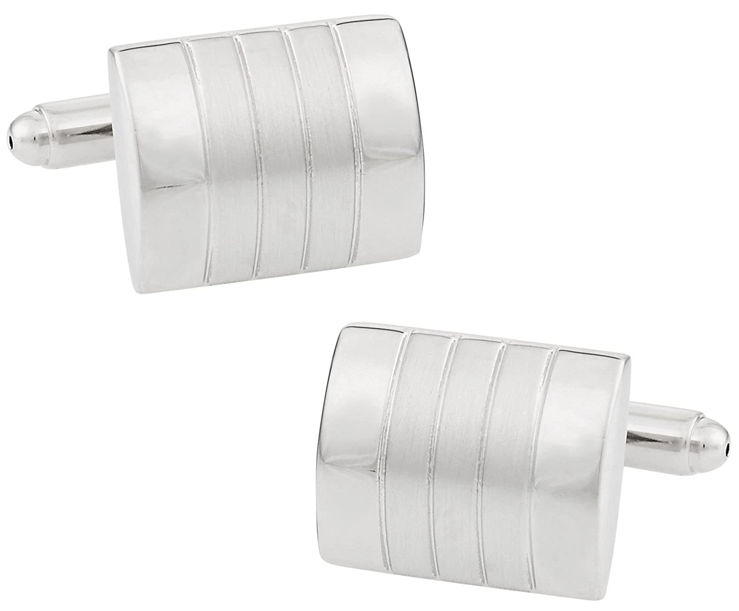 Brushed and Polished Distinctive Cufflinks in Silver with Gift Box Cuff-Daddy CD-357