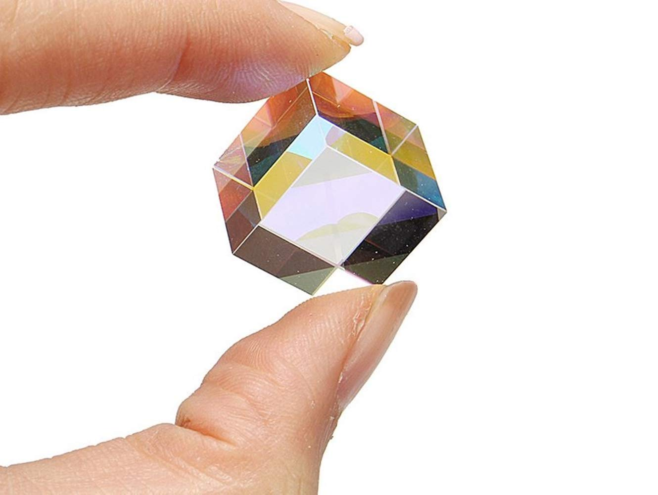Dtacke Optical Glass Dispersion Prism X-Cube for Physics Teach Decoration Art Prism Glass Cube Prism Photography Rainbow Prism
