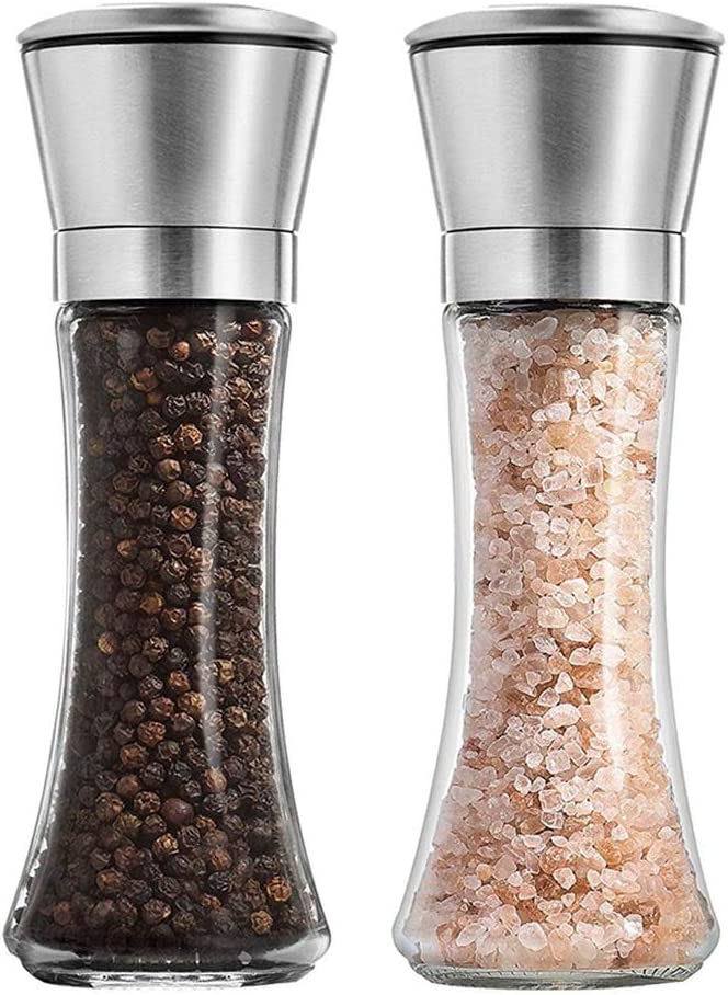 Salt and Pepper Shakers Grinders Set Refillable Stainless Steel,Adjustable Coarseness Mills Glass Material to Refill Sea Salt,Small Peppercorn,Black Pepper,Fits in Home,Kitchen,Barbecue,Party