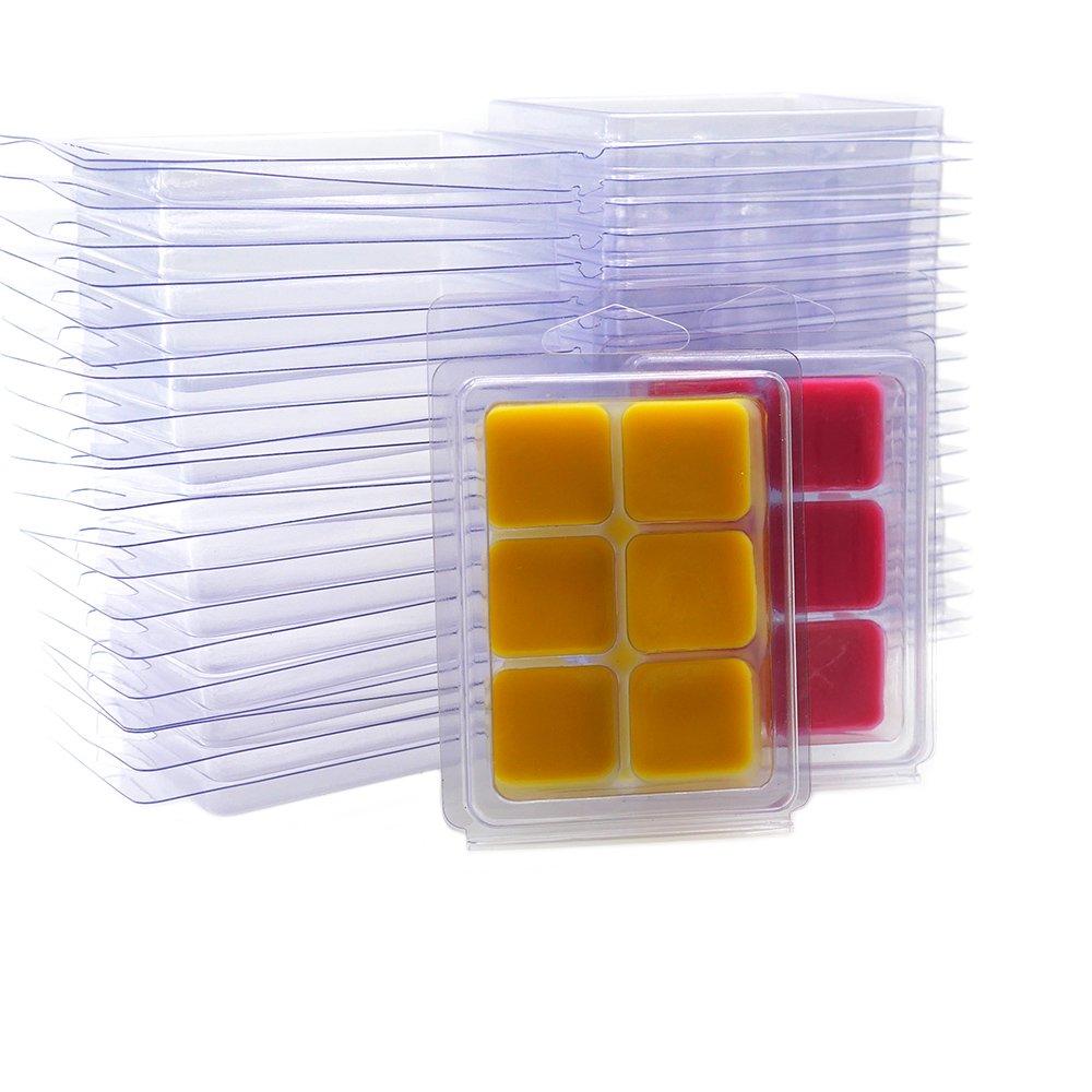 DGQ Wax Melt Molds - 50 Packs Clear Empty Plastic Wax Melt Clamshells for Wickless Wax Melt Candles