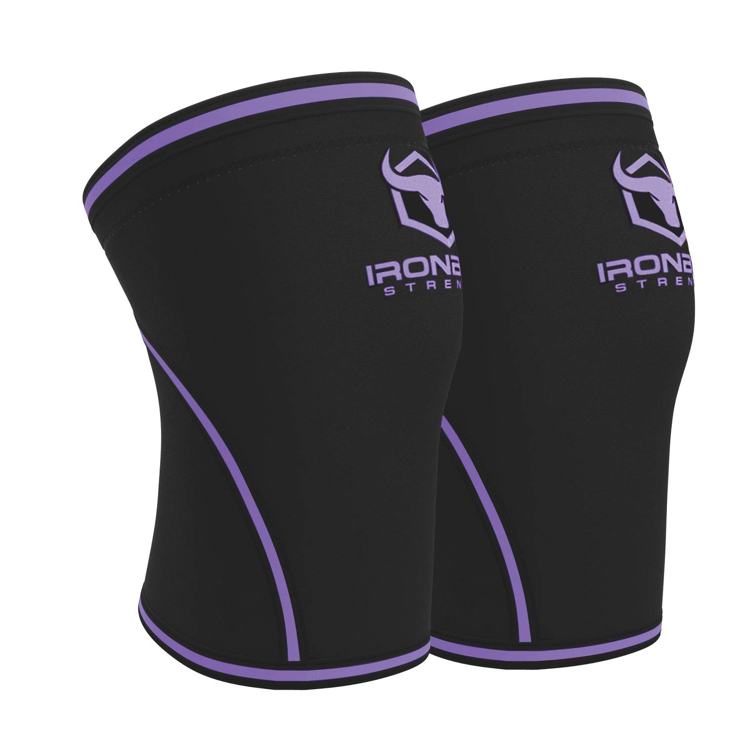 Knee Sleeves 7mm (1 Pair) - High Performance Knee Sleeve Support For Weight Lifting, Cross Training & Powerlifting - Best Knee Wraps & Straps Compression - For Men and Women (Black/Purple, Large) by Iron Bull Strength