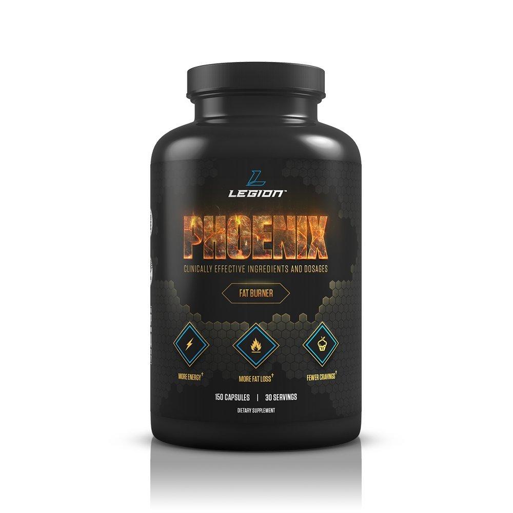 Legion Athletics Phoenix - Caffeine Free Fat Burner & Appetite Suppressant for Faster Weight Loss - 100% Natural & Scientifically Validated Formulation Including Forskolin, Naringin, & More - 30 Svgs