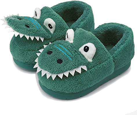 Amazon.com | Toddler Dinosaur House Slippers Warm Home Shoes Fuzzy  Household Slippers Royal Blue | Slippers