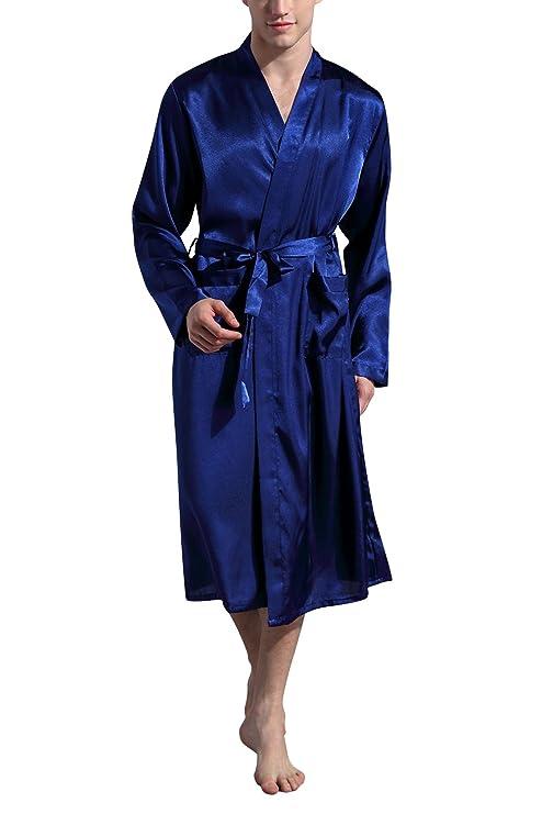 Dolamen Albornoz para Hombre Vestido Batas y kimonos Satén, Suave y ligero Satén Camisón, Lujo Robe Albornoz Ropa de dormir Pijama con Cinturón y bolsillos: ...