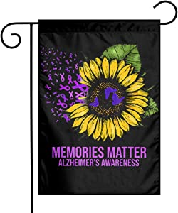 DoubleHappy Fight Against Alzheimers Sunflower Garden Flags Outdoor Decorative Flag Banners 12 X 18 Inches