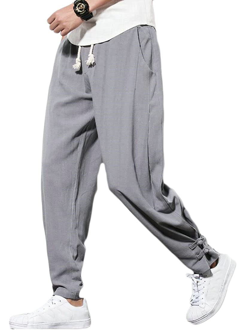Spirio Men Loose Chinese Style Plus Size Linen Casual Jogger Harem Pants