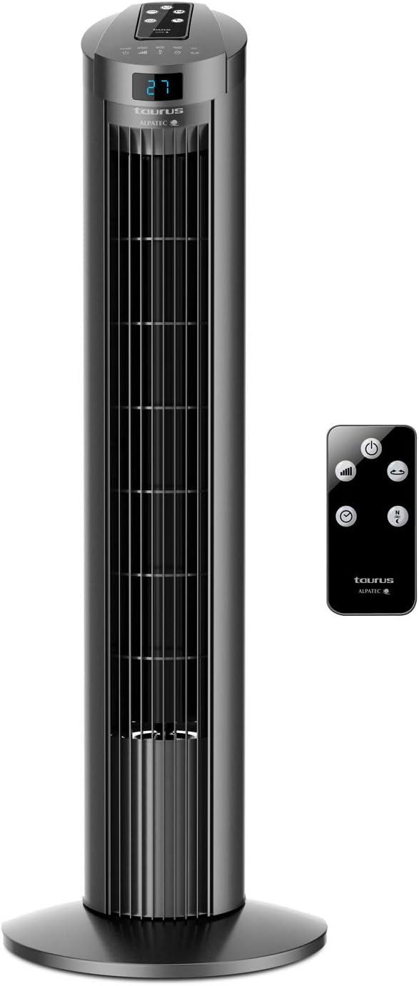 Taurus  Babel RC II - Ventilador de torre digital, Indicador de temperatura, 3 velocidades, 3 modos, Temporizador 12h, Sistema de oscilación, Mando a distancia, Silencioso, 74cm de altura