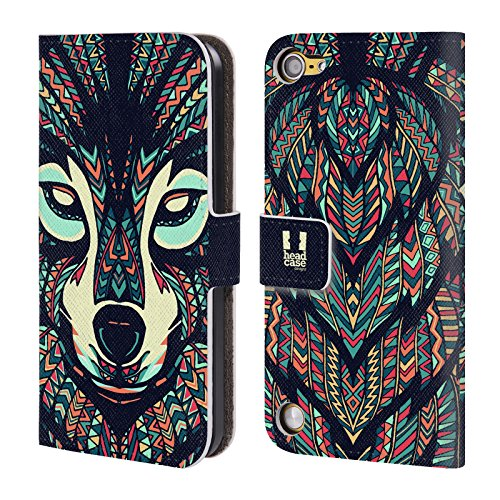 Head Case Designs Lupo Volti Di Animali Aztechi Cover a portafoglio in pelle per iPod Touch 5th Gen / 6th Gen