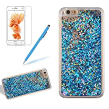 Case Cover For Iphone 4 / Iphone 4S, Girlyard Glitter Floating Bling Case 3D Creative Luxury Design Stars Leaves Moving Crystal Hourglass Cover Clear Bling Diamond Leaves Hard Back Case[Free Screen Protector], Blue