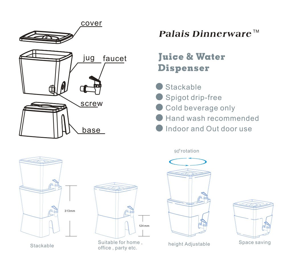 Palais Dinnerware Elegant Square Juice and Water Dispenser with Stand, 12'' H, 1.5 gal